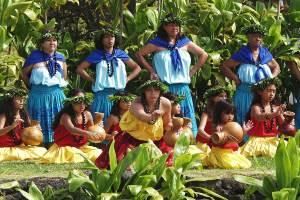 Hula kahiko performance at the pa hula in Hawaii Volcanoes National Park